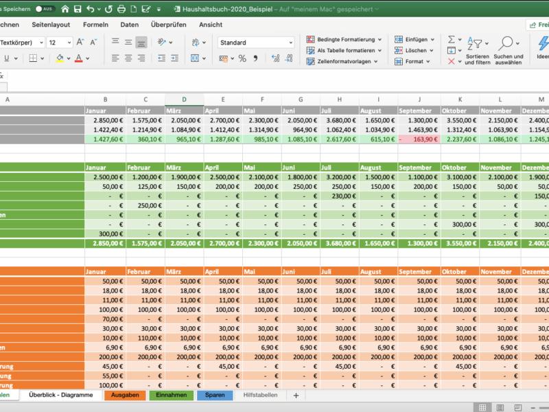 Excel Haushaltsbuch Vorlage selbst erstellen (Screenshot)