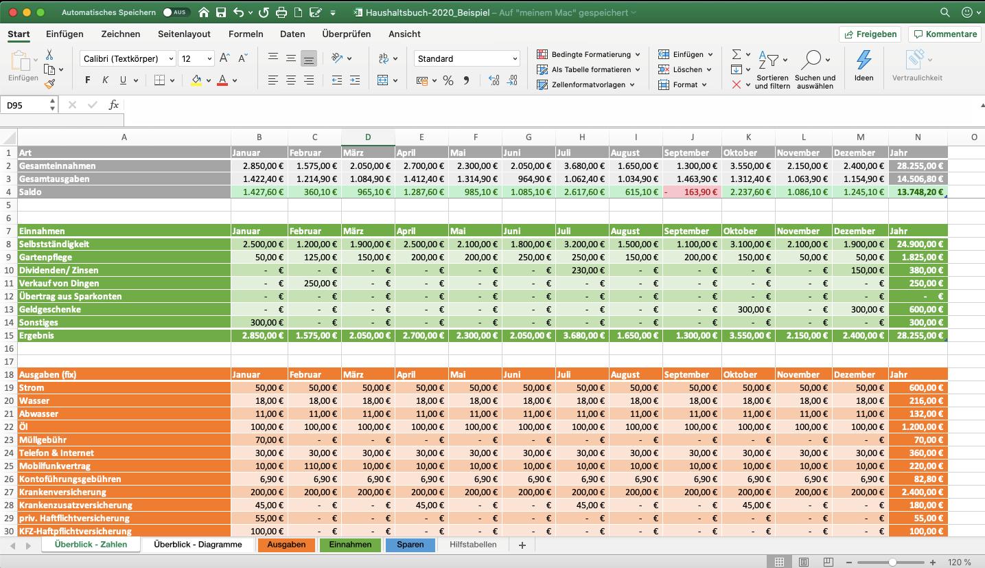 Excel-Haushaltsbuch Vorlage selbst erstellen (Screenshot)