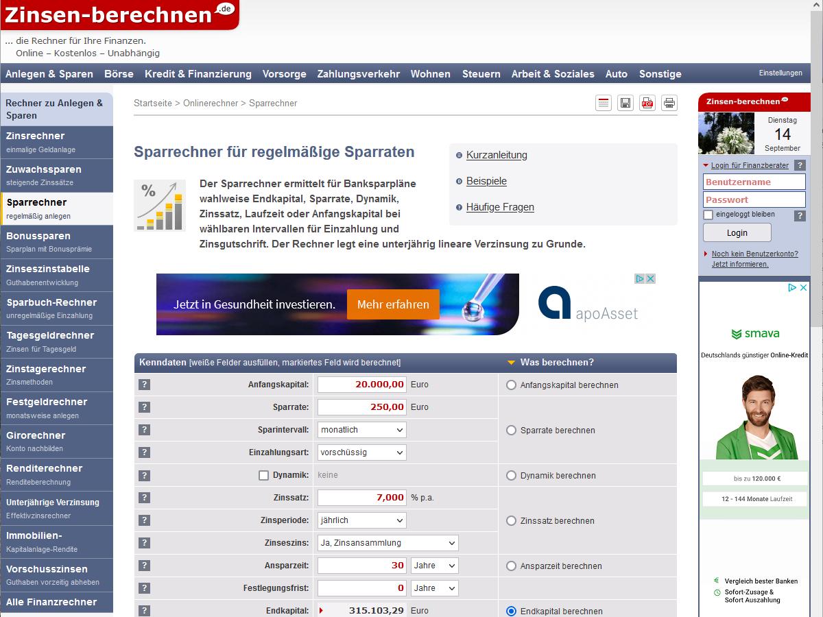 Screenshot Zinsen-berechnen.de – Online-Finanzrechner