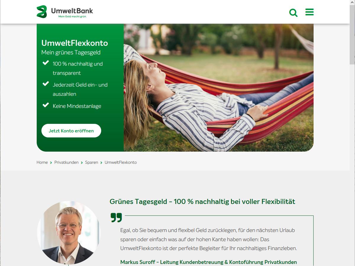 UmweltFlexkonto – Nachhaltiges Tagesgeldkonto